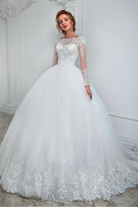 Sheer Neck Ivory Wedding Dress with Long Sleeves