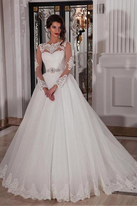 Long Sleeves wedding dress,Ivory Bridal Dresses with Sheer Back