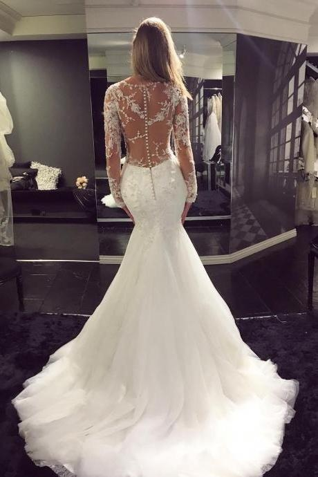 Charming Simple Wedding Dress, Sexy Mermaid Wedding Dresses, Lace Long Bridal Dress