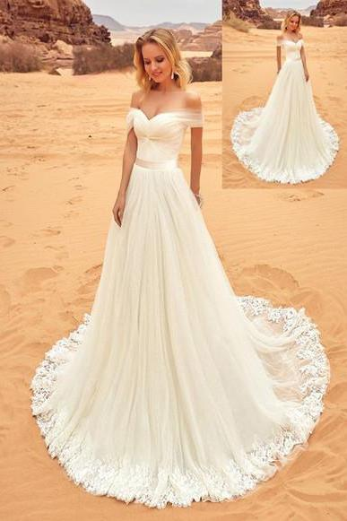 Beach Chiffon Bridal Gown, Beach Wedding Dresses, Wedding Gowns, Lvory Wedding Dresses, Bridal Dresses, Sexy Lace Wedding Dresses, White Wedding Dresses with Lace, Sweetheart A Line Beach Wedding Dresses