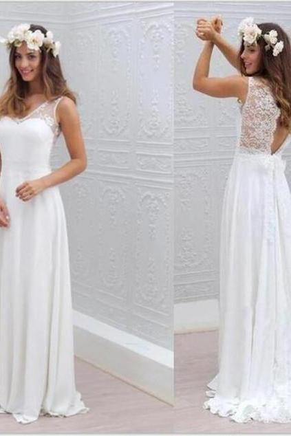 Chiffon Lace Wedding Dress, Simple Beach Cheap Wedding Dresses, Open Back Beautiful White Wedding dress, Beach Wedding Dress, Cheap Bridal Gowns