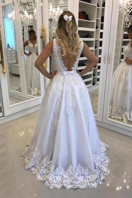 White Long Lace Wedding Dress,Halter Slit Wedding Dresses, Sexy V-neckline Wedding Dresses, Women Bridal Dresses