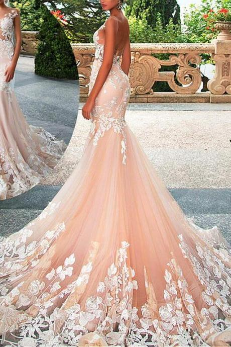 Fashionable Tulle Wedding Dress,Satin V-Neck Bridal Dresses,See-through A-Line Wedding Dresses With Lace Appliques