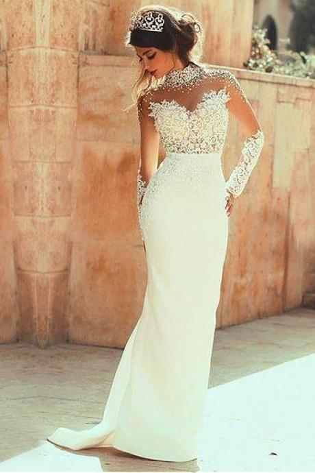 Beaded Lace Appliques Wedding Dress,Mermaid Wedding Dresses,Long Bridal Dresses