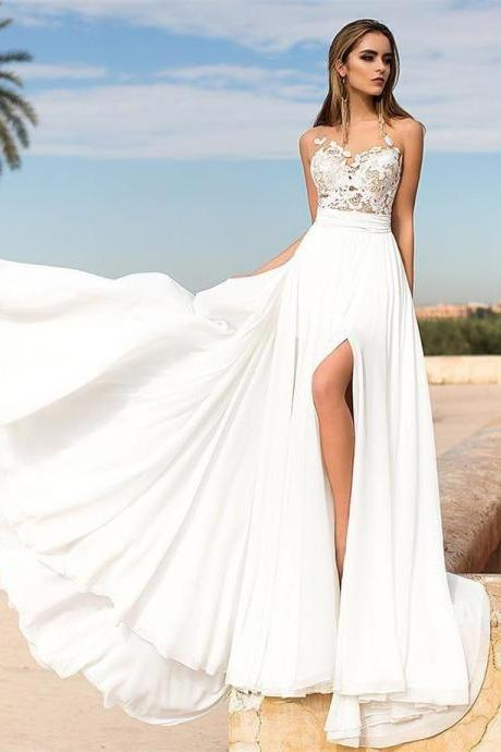 Summer Beach Wedding Dress with Slit Boho Bridal Gown