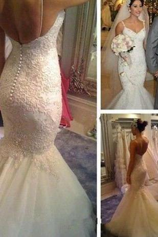 Vintage Beaded Lace Wedding Dress,Mermaid Wedding Dresses,Spaghetti Straps Court Train Wedding Dresses,Tulle Backless Bridal Gowns