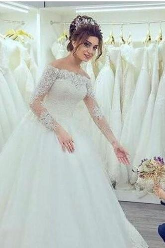 Elegant Boat Neck Wedding Dress,Long Sleeves Wedding Dress,Off the Shoulder Wedding Dresses,Gorgeous Tulle Lace Appliques Bridal Gowns