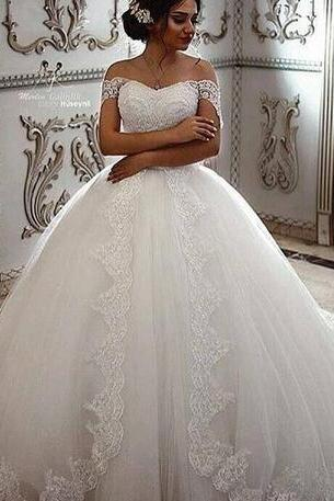 Vintage Lace Wedding Dresses,Off the Shoulder Beaded Wedding Dress,Appliques With Court Train Country Bridal Gowns