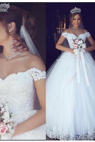 Lace Wedding Dresses,Sweetheart Pearls Ball Gown Tulle Bridal Dresses,Vintage Cheap Wedding Gowns