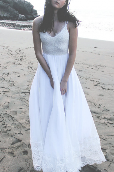 Real Beautiful Beach Wedding Dress,White Wedding Dresses,Lace Wedding Dresses,Chiffon Wedding Gowns,Long Wedding Dress,Elegant Bridal Dresses,Backless Bridal Gowns