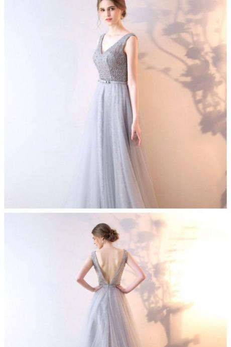 Silver gray Tulle Prom Dress, Formal Evening Dress, Women Dress