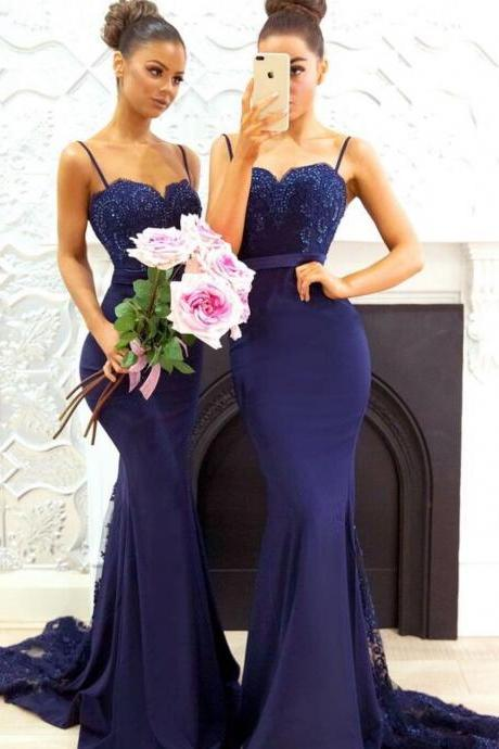Navy Blue Mermaid Bridesmaid Dress, Sexy Spaghetti Straps Lace Bridesmaid Dresses,evening gowns