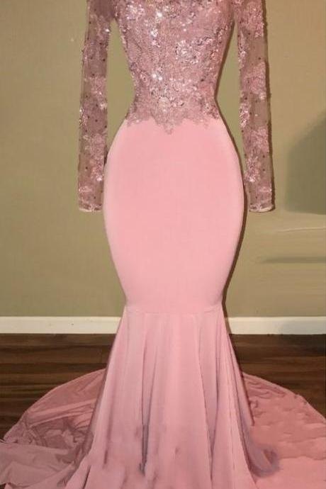 Shiny Pink Backless Beaded Prom Dresses,Long Sleeves Mermaid Prom Dresses,Sexy Pink Prom Gowns,Long Prom Dresses