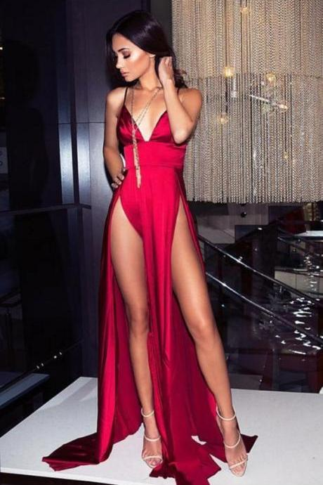 Sexy Satin V Neck Red Party Dress with Slit prom dresses,Long Prom Dresses