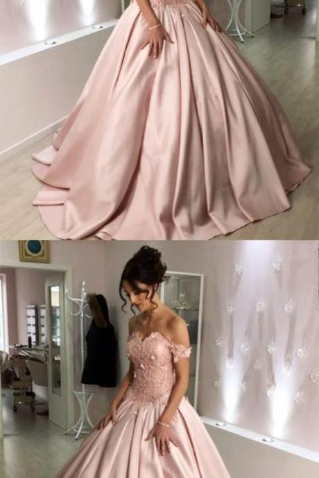Pink Lace Flowers Sweetheart Prom Dresses,Off The Shoulder Ball Gowns Wedding Dresses,Off Shoulder Prom Dress,Long Prom Dresses