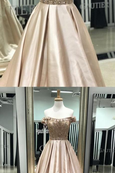 off the shoulder long prom dress, A-line beaded light champagne prom dresses,Long Prom Dresses