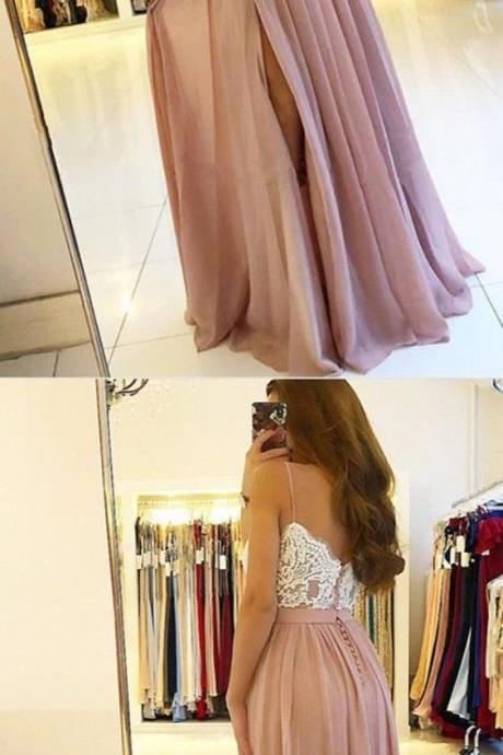 fashion spaghetti straps pink chiffon prom dresses long, simple white lace a line prom party dress