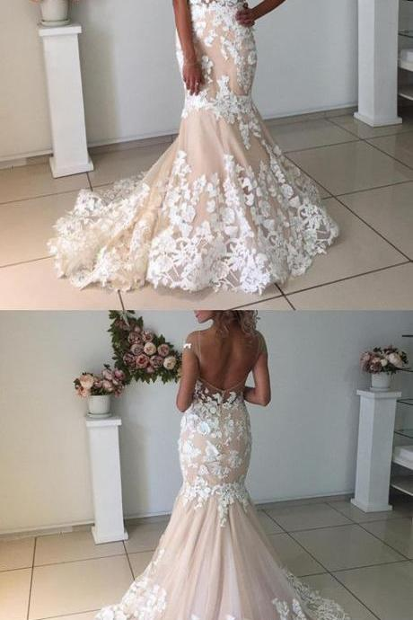 Elegant Champagne Wedding Dresses,Mermaid Backless Wedding Dresses, With Ivory Lace Appliques Wedding Dress,Long Bridal Dresses
