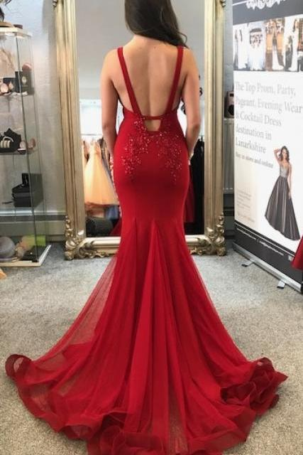 Red Mermaid Long Prom Dress, Gorgeous Prom Dress Evening Dress,Sexy Sleeveless Mermaid Evening Dress