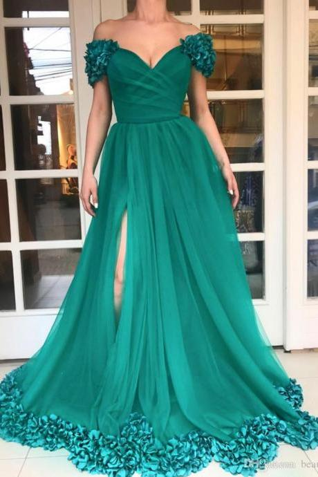 High Split Long Prom Dresses Custom Plus Size Hunter Green Tulle A Line Off Shoulder 3D Flowers African Evening Gowns Cheap