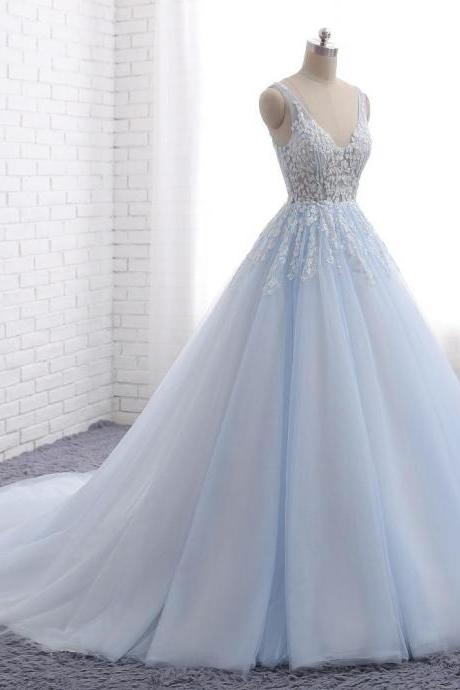 Pale Blue V Neckline Wedding Dresses,A line Tulle Wedding Dress,Lace Beaded Evening Prom Dresses, Popular Sweet 16 Party Prom Dresses, Custom Long Bridal Dresses