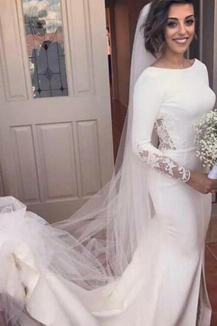 Mermaid Bateau Backless Long Sleeves Court Train Wedding Dress with Lace