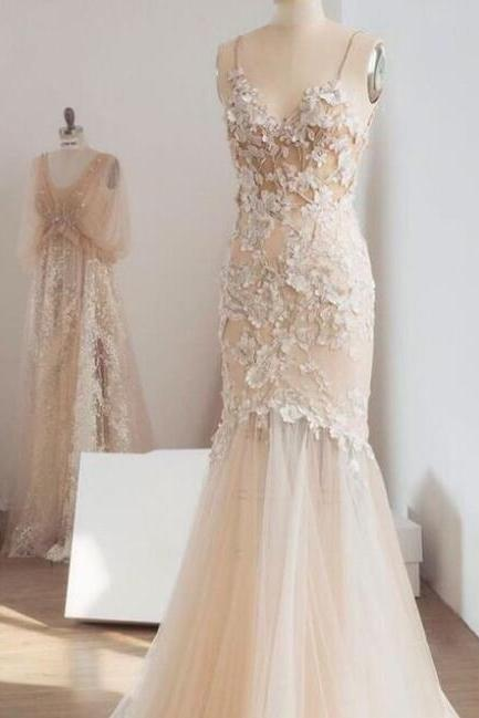 Champagne Mermaid Wedding Dresses, Spaghetti Strap Bridal Dresses,Lace Appliqued Wedding Dress