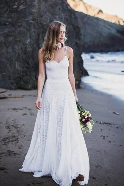 Spaghetti Strap Lace Wedding Dress,Chiffon Beach Wedding Dresses, Bohemian Bridal Dress