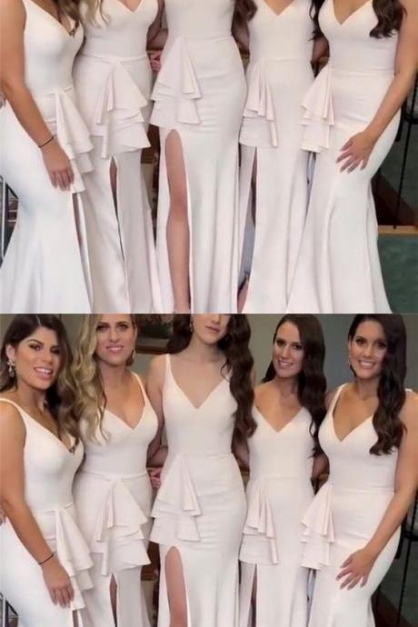 Stylish Mermaid V-neck Bridesmaid Dress,Long Jersey Split Bridesmaid Dresses,Custom Made,Party Gown,Cheap Evening dress