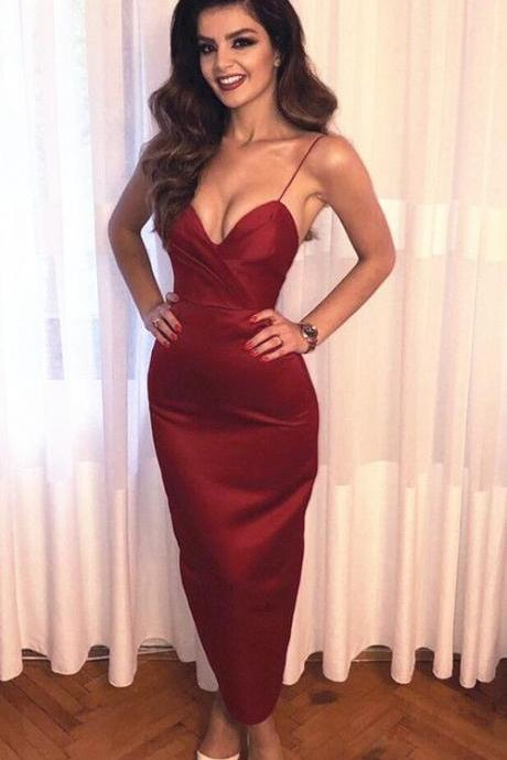 Ankle Length Semi Formal Dress with Slit Party Dress