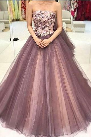 sequin tulle long prom dress, formal dress, Evening Dress