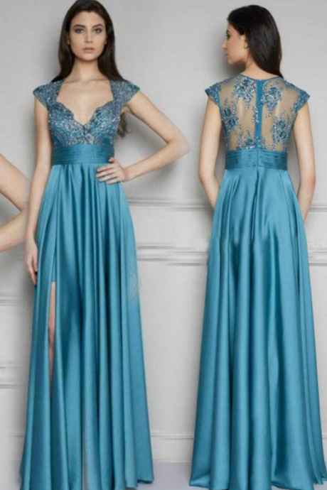 Sexy Blue Long Maxi Evening Party Ball Prom Gown, Formal Bridesmaid Cocktail Dress,Floor Length Formal dress