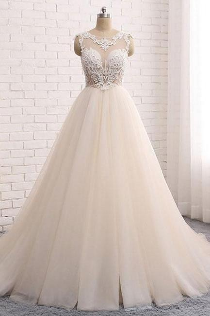 Custom made round neck Evening Dresses,lace tulle long prom gown, wedding dress, Evening Dress