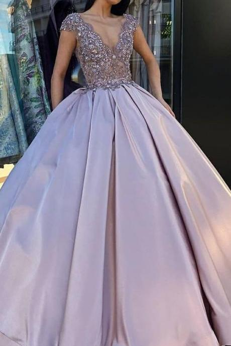 Ball Gown V-Neck Prom Dresses,Floor Length Blush Satin Quinceanera Dress with Lace Beading