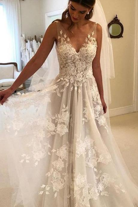 Princess Style A-line Wedding Dress,V-neck Tulle Floor Length Wedding Dresses Lace Embroidery