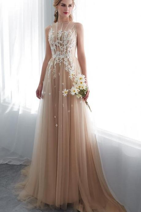 Champagne Prom Dresses, Walk Beside You O-neck Prom Dress,Transparent Lace Applique A-line Prom Dresses,Sleeveless Sweep Train Long Party Evening Gowns