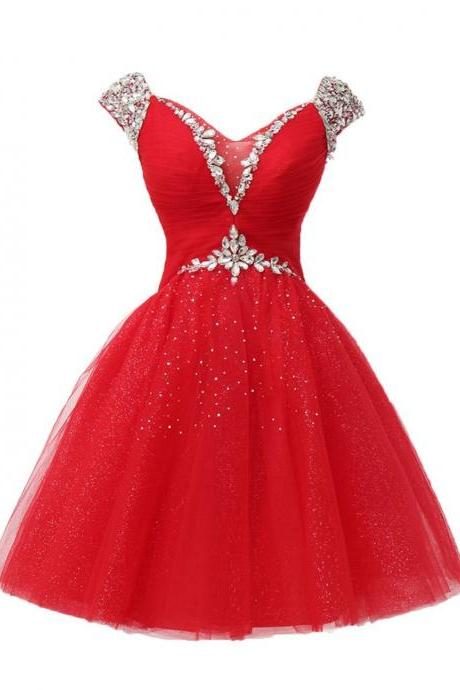 Red Graduation Cocktail Dress, Rhinestone Short Evening Dress, V Neck Crystal Tulle Mini Prom Dress, Women Party Dress, Formal Gowns