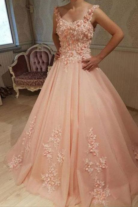 Elegant Appliques Tulle Prom Dresses, Formal Dress,Party Dress,Custom Prom Dress