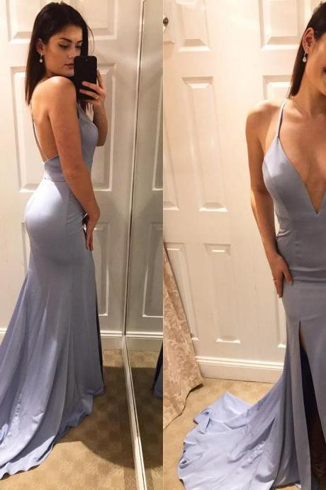 Sexy Deep V Neck Slit Prom Dress, Mermaid Evening Dresses,Long Backless Maxi Gowns Prom Dresses