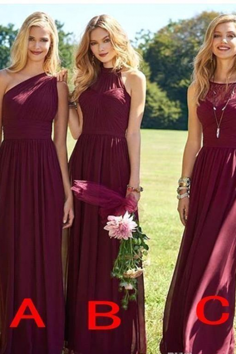 Elegant Burgundy Bridesmaid Dress,Long Wedding Guest Dress ,Chiffon Sweep Train Cheap Bridesmaid Dresses,Formal Pageant Gowns, Evening Dresses ,Long Party Dresses ,Sexy Party Dress ,Prom Dress