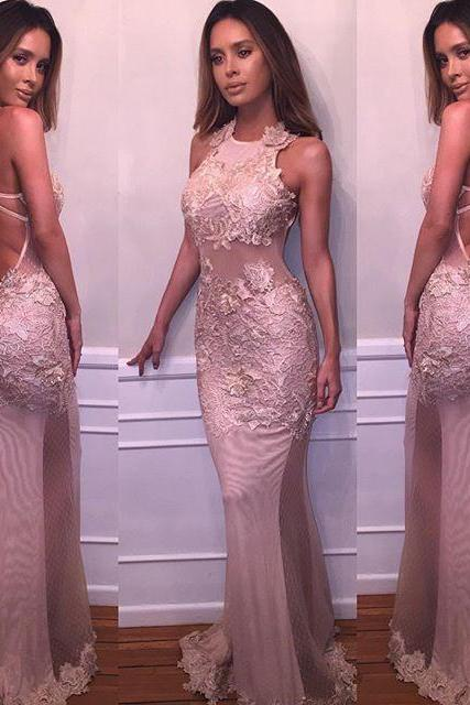Open Back Prom Dress,Prom Dress,Pink Mermaid Prom Dresses,Evening Dress,Pink Prom Dresses