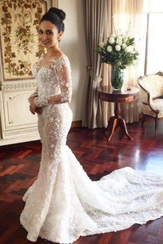 Cheap wedding dresses ,white/ivory Long Sleeve Wedding Dress,Lace White/Ivory Wedding Dress