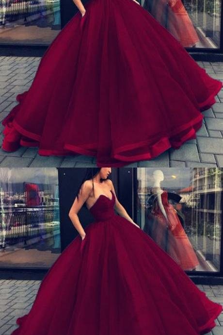 Burgundy Ball Gowns Wedding Dresses Sweetheart Organza Layered Quinceanera Dress For Sweet 16