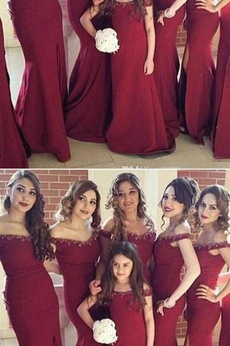 Mermaid Off-the-Shoulder Burgundy Satin Bridesmaid Dress,Long Bridesmaid Dresses,Cheap Bridesmaid Dresses,Evening Dress,Prom Gowns