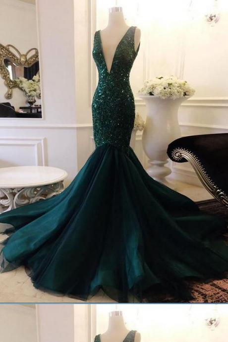 Excellent Green Prom Dresses, Mermaid Green Prom Dress, Modest V Neck Long Prom Dress