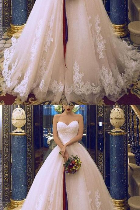 Princess Style Sweetheart Tulle Wedding Dress,Ball Gowns Wedding Dresses Lace Appliques,Long Wedding Dresses,Cheap Wedding Dresses,Wedding Dress,Bridal Gowns