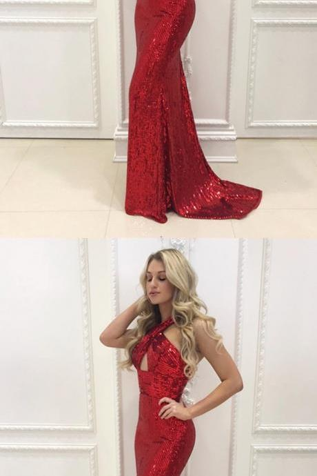 Mermaid Halter Backless Sweep Train Red Sequined Prom Dress, Halter V-Neck Crisscross Back Mermaid Evening Gowns,Long Prom Dresses,Cheap Prom Dresses,Evening Dress,Prom Gowns