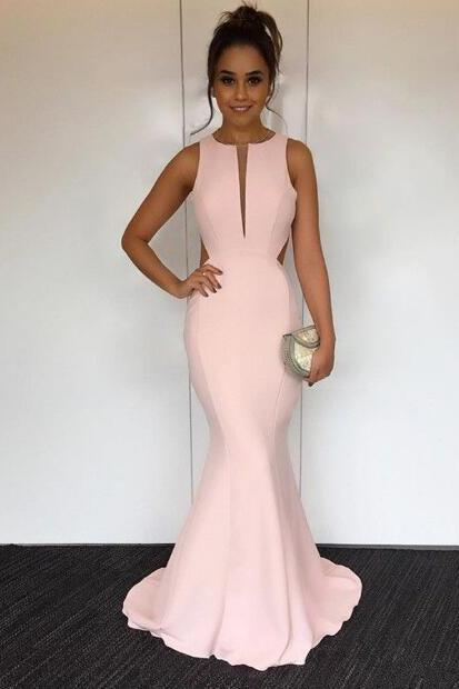 Pink Mermaid Round Neck Long Prom Dress,Sweep Train Open Back Prom Dress, Halter V-Neck Crisscross Back Mermaid Evening Gowns,Long Prom Dresses,Cheap Prom Dresses,Evening Dress,Prom Gowns