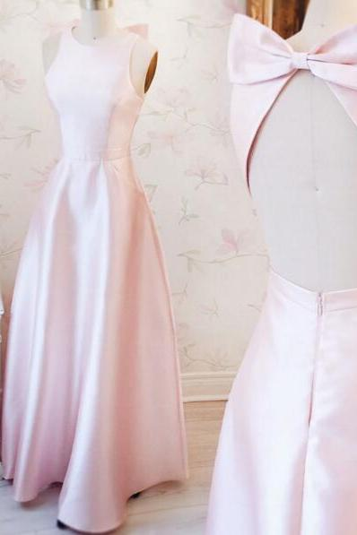 Light Pink Satin Crew Neck Halter Floor Length A-Line Bridesmaid Dress Featuring Bow Accent Open Back, Formal Dress, Halter V-Neck Crisscross Back Mermaid Evening Gowns,Long Prom Dresses,Cheap Prom Dresses,Evening Dress,Prom Gowns