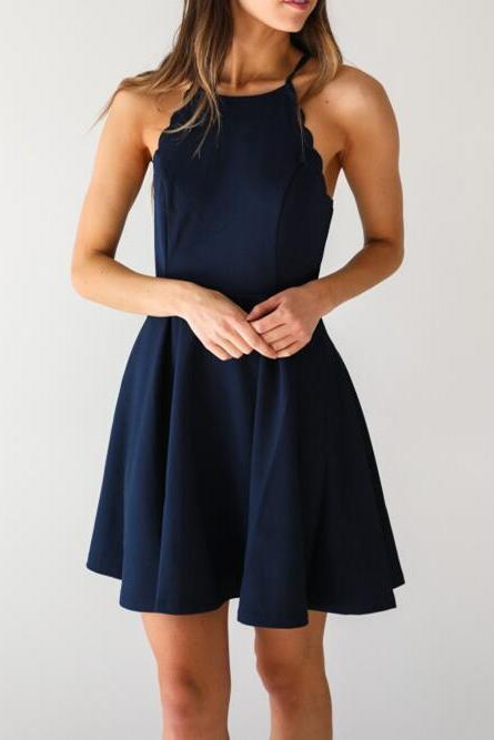 A Line Dark Navy Homecoming Dress,Cute Halter Party Dress Long Prom Dresses,Cheap Prom Dresses,Evening Dress,Prom Gowns